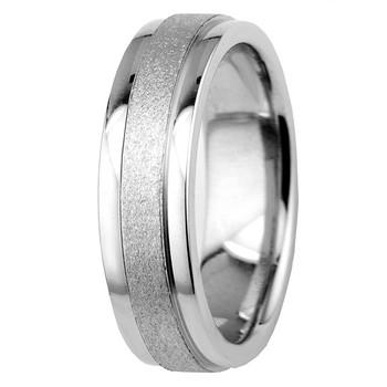 Sandblast Matte and Polished 14k Gold Wedding Band Comfort-Fit Ring