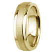 Sandblast Matte and Polished 14k Yellow Gold Wedding Band Comfort-Fit Ring