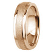 Sandblast Matte and Polished 14k Rose Gold Wedding Band Comfort-Fit Ring