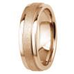 Sandblast Matte and Polished 14k Rose Gold Wedding Band Comfort-Fit Ring