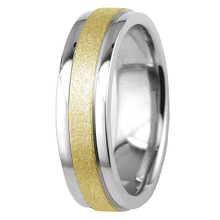 Matte Polished 14k White and Yellow 2-Tone Gold Wedding Band