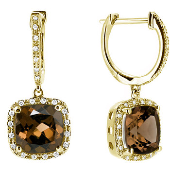 Smokey Topaz Diamond Dangle Drop Earrings Yellow Gold