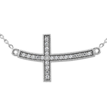 Sideways Cross Diamond Pendant Necklace 14k Gold