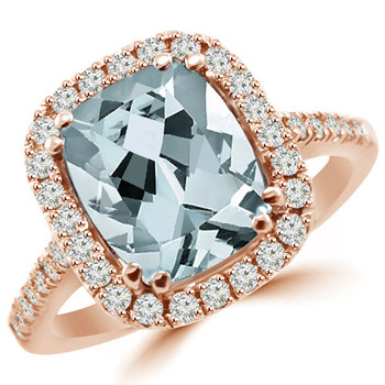 Cushion-Cut Blue Aquamarine Diamond Halo Ring 14k Rose Gold