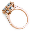 Cushion-Cut Blue Aquamarine Diamond Halo Ring in Rose Gold