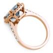 Cushion-Cut Blue Aquamarine Diamond Halo Ring in Rose Gold