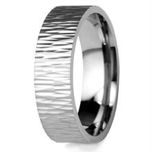Tree Bark 18k Gold Wedding Band Ripple Texture Ring