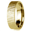 Tree Bark 18k Yellow Gold Wedding Band Ripple Texture Ring