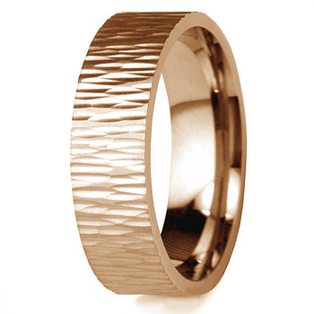 Tree Bark 14k Rose Gold Wedding Band Ripple Texture Ring