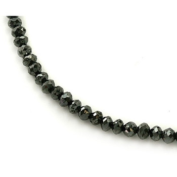 50 Carat Black Diamond Faceted Bead Necklace 20 Inches Long