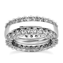 2-Row Diamond Eternity Wedding Band Bridal Ring
