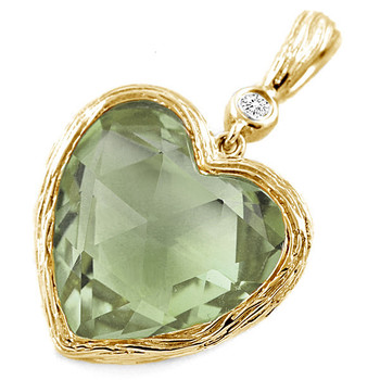 Green Amethyst Diamond Heart-Shaped Pendant 14k Yellow Gold