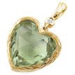 Green Amethyst Diamond Heart-Shaped Pendant 14k Yellow Gold