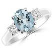 Oval Blue Aquamarine Diamond 3-Stone Engagement Ring