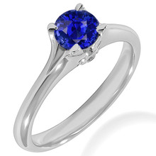 Blue Sapphire Diamond Solitaire Engagement Ring With Split Band