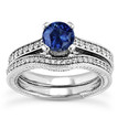 Blue Sapphire Engagement Ring Diamond Wedding Band Set Vintage