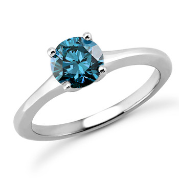 1 Carat VS1 Fancy Blue Diamond Tapered Solitaire Engagement Ring