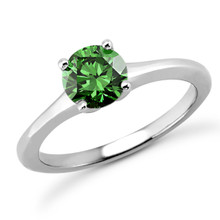 1ct VS1 Fancy Green Diamond Tapered Solitaire Engagement Ring