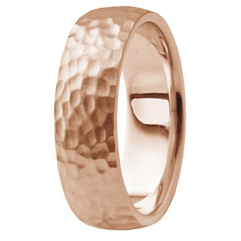 Edge-to-Edge Hammered 14k Rose Pink Gold Wedding Band Men Ring