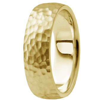 Edge-to-Edge Hammered 14k Yellow Gold Wedding Band Men Ring