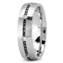 Black and White Diamond Men's Wedding Ring Eternity Band