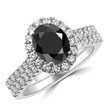 Oval Black Diamond Halo Engagement Wedding Ring Set
