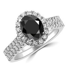 Oval Black Diamond Halo Engagement Wedding Ring Set
