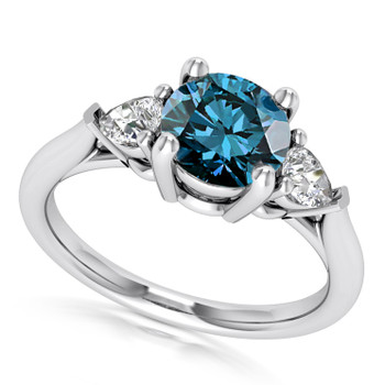 VS1 Blue and White Diamond Three Stone Engagement Ring