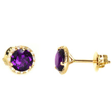 Amethyst Diamond Halo Stud Earrings 14k White Gold