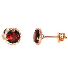 Red Garnet Diamond Halo Martini Stud Earrings Rose Gold