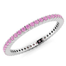 Pink Sapphire Eternity Wedding Band Bridal Ring White Gold