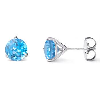 7mm Swiss-Blue Topaz Martini Glass Stud Earrings 14k White Gold