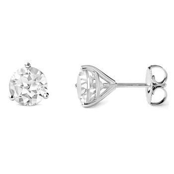 7mm White Topaz Martini Glass Stud Earrings 14k White Gold