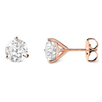 7mm White Topaz Martini Glass Stud Earrings 14k Rose Gold