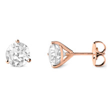 7mm White Topaz Martini Glass Stud Earrings 14k Rose Gold