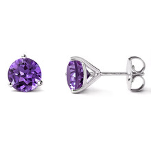 7mm Amethyst Martini Glass Stud Earrings 14k White Gold