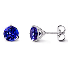 7mm Fine Tanzanite Martini Glass Stud Earrings 18k White Gold