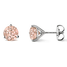 Peach Pink Morganite Martini Stud Earrings 14k White Gold