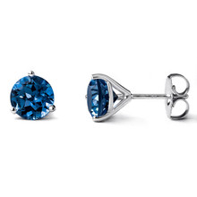 London-Blue Topaz Martini Glass Stud Earrings 14k White Gold