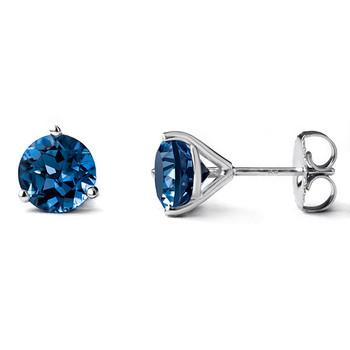 London-Blue Topaz Martini Glass Stud Earrings 14k White Gold