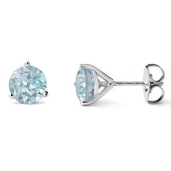 Aquamarine Martini Glass Stud Earrings 14k White Gold