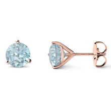 Aquamarine Martini Glass Stud Earrings 14k Rose Gold