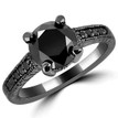 3 Carat Black Diamond Vintage Engagement Ring 14k Black Gold