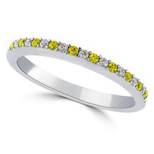 Alternating Yellow and White Diamond Anniversary Wedding Band