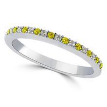 Alternating Yellow and White Diamond Anniversary Wedding Band