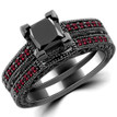 Princess Black Diamond Ruby Engagement Ring Set 14k Black Gold