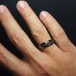 Men's Black Diamond and Red Ruby Wedding Band 14k Black Gold Ring Side-View