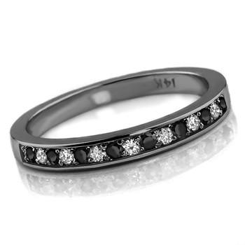 Fancy Black White Diamond Wedding Ring 14k Black Gold Band