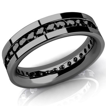 Men's Black Diamond Eternity Wedding Band Channel Ring 14k Black Gold