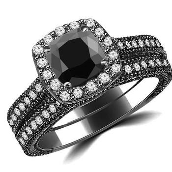 Cushion Black Diamond Halo Engagement Ring Set 14k Black Gold